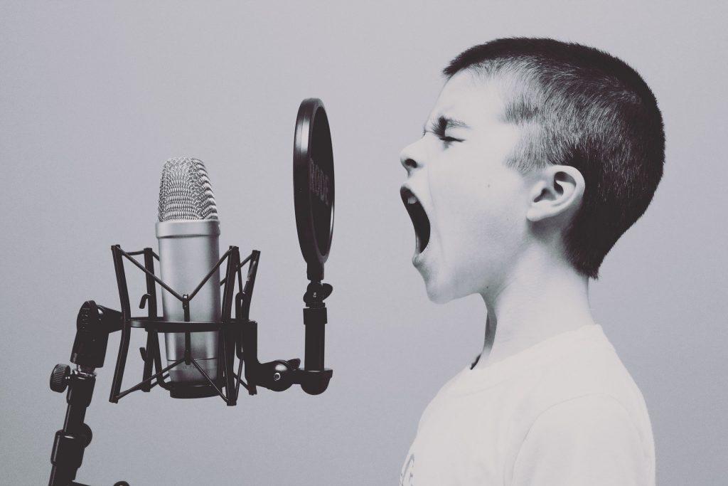 歌を歌う少年